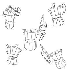 Isolated coffee maker elements vector
