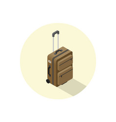 Isometric of brown suitcase vector