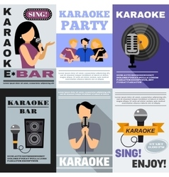 Karaoke poster set vector
