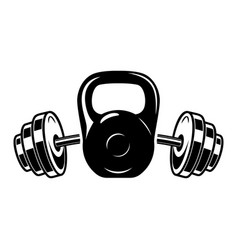 kettlebell and barbell design element vector image