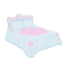 King bed with white blanketqueen bed with pink vector