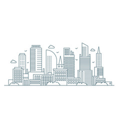 Line modern urban big city panorama outline vector