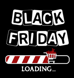 Loading bar with a cart of gifts black friday vector
