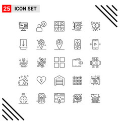 Mobile interface line set 25 pictograms day vector