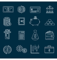 Money finance icons outline vector image