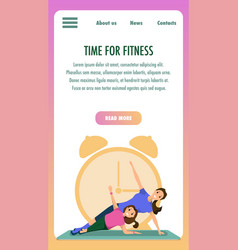 Mother and daughter engaged fitness sport training vector