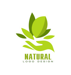 natural logo design healthy premium quality label vector image