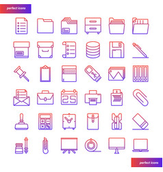 Office supply color line icons perfect pixel vector