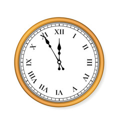 old circle clock on white background vector image
