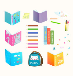 Open and closed books clip art collection color vector
