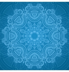 Ornamental round blue lace pattern 1 vector image