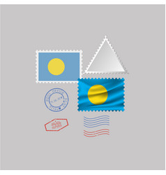 Palau flag postage stamp set isolated on gray vector