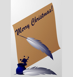 paper scroll with feather pen and ink vector image