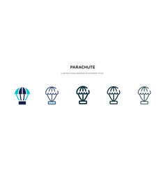parachute icon in different style two colored vector image