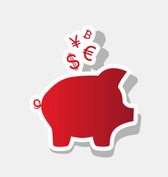 piggy bank sign with the currencies new vector image