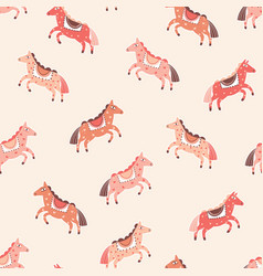 pink horses seamless pattern cartoon pony vector image