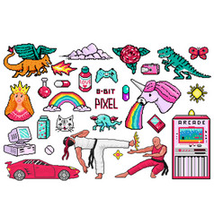pixel art 8 bit objects retro digital game assets vector image