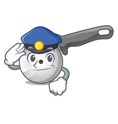 police pizza cutter knife cartoon for cutting vector image