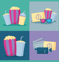 popcorn with set icons of cinema vector image