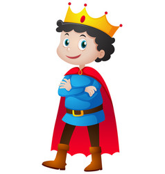 Prince with red cape and crown vector