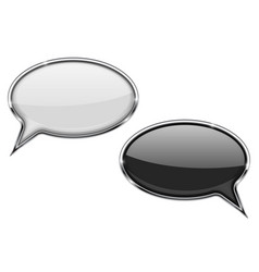 round speech bubbles black and white vector image