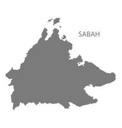 Sabah malaysia map grey vector