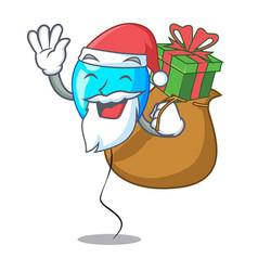 Santa with gift blue balloon bunch design on vector