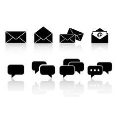 set communication reflection icons vector image