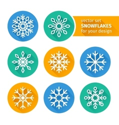 set of icons snowflakes flat design 2 vector image