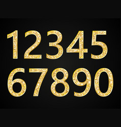 set of numbers with gold glitter glittering vector image