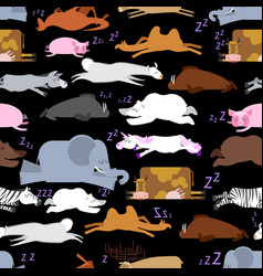 Sleeping animals seamless pattern seal and deer vector