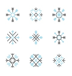 Snowflake icons set variable line vector
