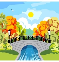 Solar autumn in park idyllic vector