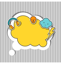 Speech bubble with sticker kawaii doodles vector