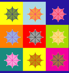 Spider on web pop-art style vector