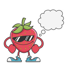 Strawberry with sunglasses and speech bubble vector