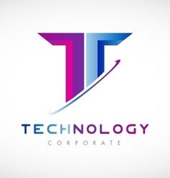 Tech letter t alphabet logo icon design vector