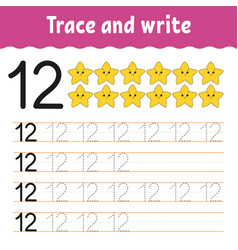 Trace and write handwriting practice learning vector