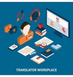 Translation and dictionary isometric poster print vector image