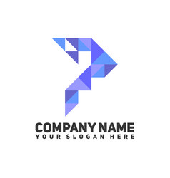 triangle logo letter p vector image