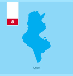 Tunisia country map with flag over blue background vector