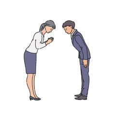 Two people bowing and greeting each other before vector