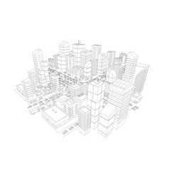 view of the big city panorama 3d contours vector image