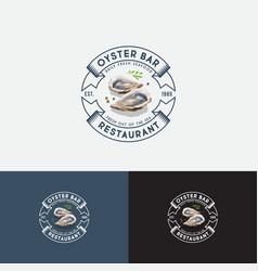 Watercolor ouster bar logo seafood restaurant ribb vector