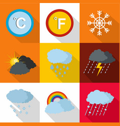 Weather intervention icons set flat style vector