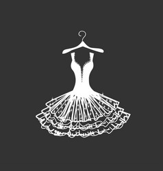 wedding dress silhouette vector image vector image