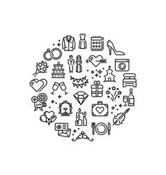 Wedding party fun outline icons vector