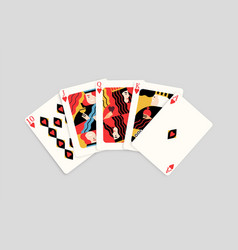 winning poker hand combination hearts royal flush vector image