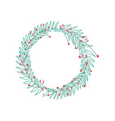 wreath garland decoration berries leaves vector image