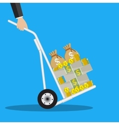 Business man with a hand truck full of money vector image vector image